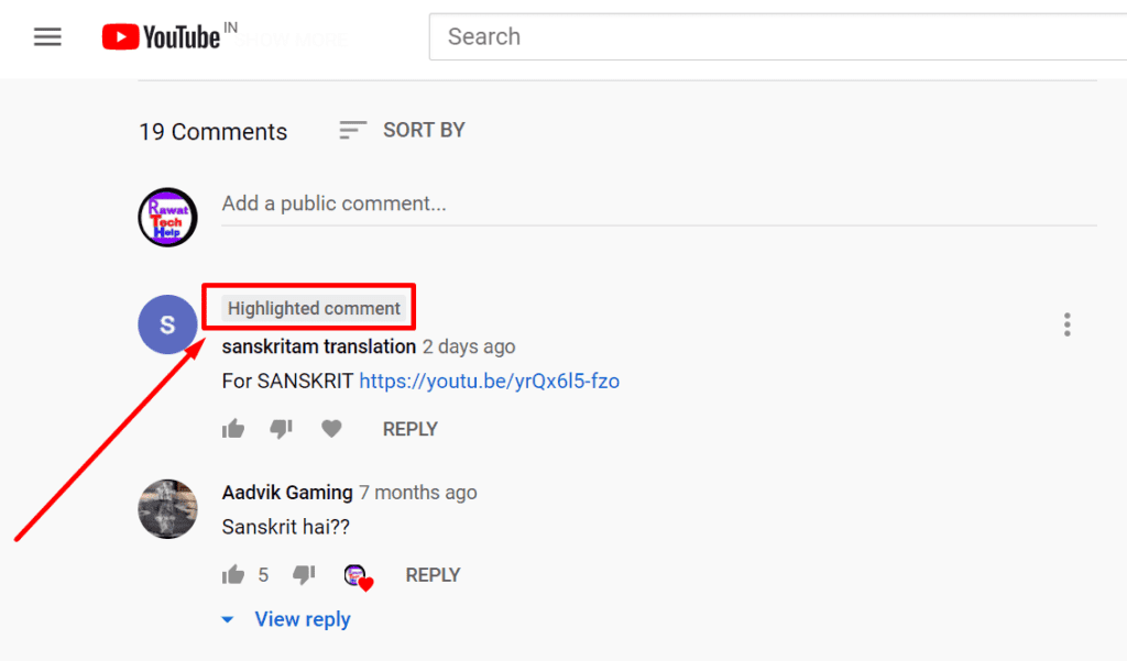 How Youtube highlighted comment looks like