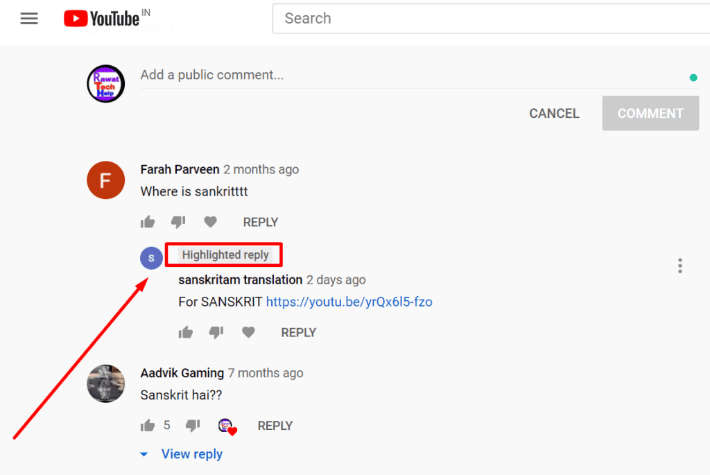 Youtube highlited reply
